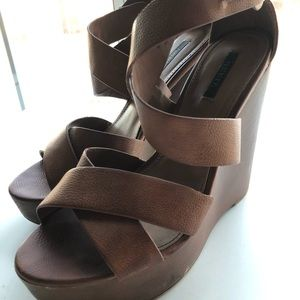 Forever 21 Brown Wedges, Womens Size 6.5